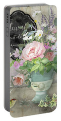 Marche Aux Fleurs 3 Peony Tulips Sweet Peas Lavender And Bird Portable Battery Charger by Audrey Jeanne Roberts