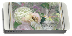 Marche Aux Fleurs Vintage Paris Eiffel Tower Portable Battery Charger by Audrey Jeanne Roberts