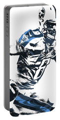 Portable Battery Charger featuring the mixed media Marcus Mariota Tennesse Titans Pixel Art 2 by Joe Hamilton