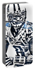 Portable Battery Charger featuring the mixed media Marcus Mariota Tennessee Titans Pixel Art 3 by Joe Hamilton