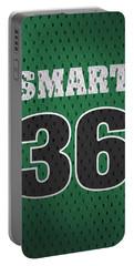 Marcus Smart Boston Celtics Number 36 Retro Vintage Jersey Closeup Graphic Design Portable Battery Charger