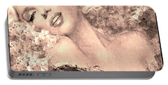 Marilyn Cherry Blossom, B Sepia Portable Battery Charger