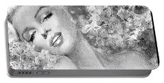 Marilyn Cherry Blossom Bw Portable Battery Charger