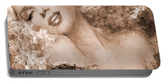Marilyn Cherry Blossoms, Sepia Portable Battery Charger