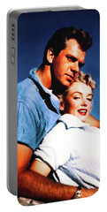 Portable Battery Charger featuring the photograph Marilyn Monroe Blond Bomb Shell Clash By Night by R Muirhead Art