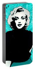 Marilyn Monroe Blue Green Aqua Tint Portable Battery Charger by Bob Baker