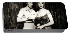 Portable Battery Charger featuring the photograph Marilyn Monroe Bus Stop Scene With Eileen Heckart  by R Muirhead Art