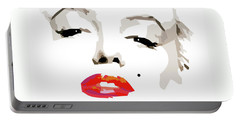 Marilyn Monroe Minimalist Portable Battery Charger by Quim Abella