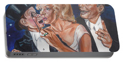 Marilyn Monroe Marries Charlie Mccarthy Portable Battery Charger by Bryan Bustard