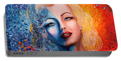 Portable Battery Charger featuring the painting Marilyn Monroe Original Acrylic Palette Knife Painting by Georgeta Blanaru