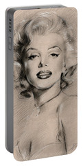 Marilyn Monroe Portable Battery Charger by Ylli Haruni