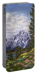 Portable Battery Charger featuring the painting Marina's Edge, Jenny Lake, Grand Tetons by Erin Fickert-Rowland