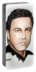 Portable Battery Charger featuring the painting Mario Frangoulis by Maria Barry