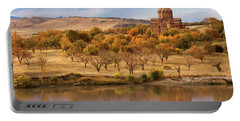 Marmashen Monastery Reflected On Lake At Autumn, Armenia Portable Battery Charger