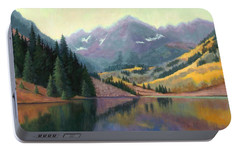 Portable Battery Charger featuring the painting Maroon Bells In October by Janet King