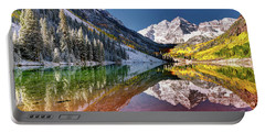 Olena Art Sunrise At Maroon Bells Lake Autumn Aspen Trees In The Rocky Mountains Near Aspen Colorado Portable Battery Charger