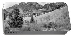 Portable Battery Charger featuring the photograph Maroon Bells Monochrome by Eric Glaser