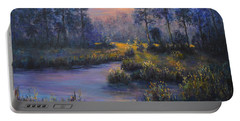 Marsh Sunset Nature Wetland Trees Print Of Panting Portable Battery Charger