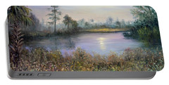 Marsh Wetland Moon Landscape Painting Portable Battery Charger