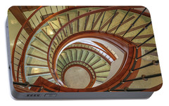 Portable Battery Charger featuring the photograph Marttin Hall Spiral Stairway by Gregory Daley  PPSA