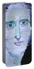 Portable Battery Charger featuring the painting Mary Shelley - Oil Portrait by Fabrizio Cassetta