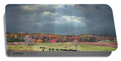 Maryland Farm With Autumn Colors And Approaching Storm Portable Battery Charger