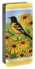 Maryland State Bird Oriole And Daisy Flower Portable Battery Charger