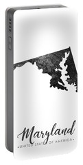 Maryland State Map Art - Grunge Silhouette Portable Battery Charger