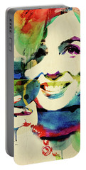 Marilyn And Her Drink Portable Battery Charger by Mihaela Pater