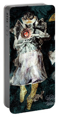 Portable Battery Charger featuring the painting Masked Angel Holding The Sun by Genevieve Esson