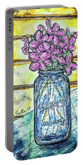 Portable Battery Charger featuring the painting Mason Jar Bouquet by Monique Faella