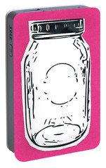 Portable Battery Charger featuring the mixed media Mason Jar Hot Pink- Art By Linda Woods by Linda Woods