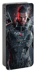Portable Battery Charger featuring the digital art Mass Effect by Taylan Apukovska