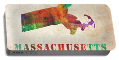 Massachusetts Colorful Watercolor Map Portable Battery Charger