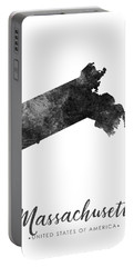Massachusetts State Map Art - Grunge Silhouette Portable Battery Charger
