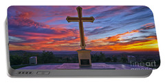 Christian Cross And Amazing Sunset Portable Battery Charger by Sam Antonio Photography