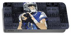 Matthew Stafford Detroit Lions Quarterback Recycled Michigan License Plates Art Portrait Portable Battery Charger