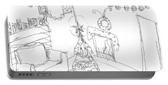 Portable Battery Charger featuring the drawing Matthews Christmas by Artists With Autism Inc
