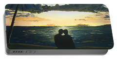 Portable Battery Charger featuring the painting Maui Beach Sunset by Norm Starks
