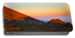 Mauna Kea Sunset With Full Moon Volcanoes National Park Hawaii Portable Battery Charger by Venetia Featherstone-Witty