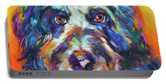 Portable Battery Charger featuring the painting Max, The Aussiedoodle by Robert Phelps