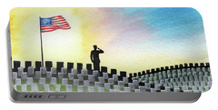 Portable Battery Charger featuring the painting M C U Memorial Salute by Betsy Hackett