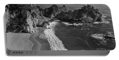 Mcway Cove Waterfall Black And White Portable Battery Charger