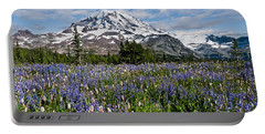 Meadow Of Lupine Near Mount Rainier Portable Battery Charger