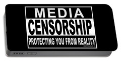 Portable Battery Charger featuring the digital art Media Censorship Protecting You From Reality by Bruce Stanfield