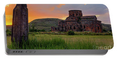 Mediaval Talin's Cathedral At Sunset With Cross Stone In Front, Armenia Portable Battery Charger