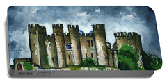 Portable Battery Charger featuring the painting Medieval Castle Before Storm by Dora Hathazi Mendes