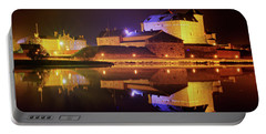 Medieval Castle By The Lake At Night Portable Battery Charger