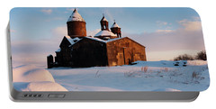 Medieval Saghmosavank Monastery Covered By Snow At Sunset, Armenia Portable Battery Charger
