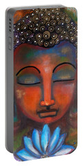 Meditating Buddha With A Blue Lotus Portable Battery Charger